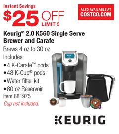 Costco Deal - Keurig 2.0 K560 Single Serve Brewer and ...
