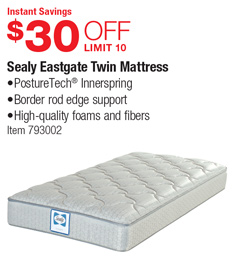 Sealy Twin Mattress Costco Costco Deal - Sealy Eastgate Twin Mattress - $30 OFF