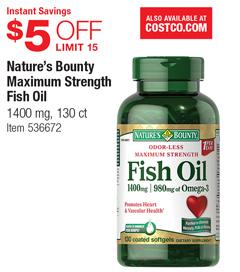 Costco deal nature 39 s bounty maximum strength fish oil for Nature made fish oil costco