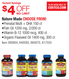 Costco deal nature made products 4 off for Nature made fish oil costco