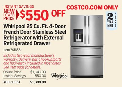 Costco Deal - Whirlpool 25 Cu. Ft. 4-Door French Door Stainless ...