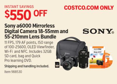 costco deal sony a6000 mirrorless digital camera 18 55mm