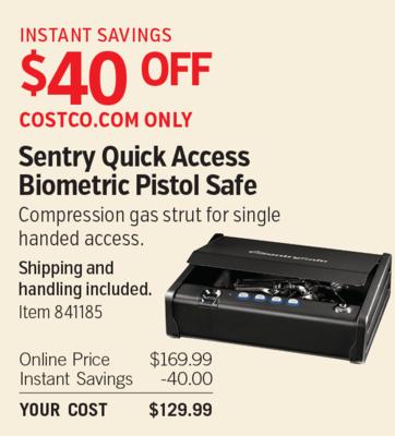 Costco Deal Sentry Quick Access Biometric Pistol Safe