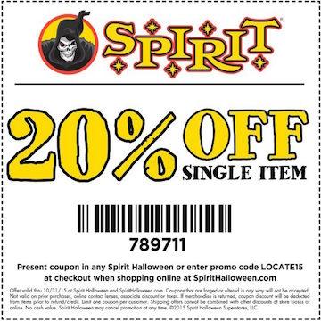 Promo Code For Spirit Halloween 20 off one item promo code at spirit halloween costumes undercover cheapskate Shop Online
