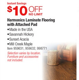 Costco Deal Harmonics Laminate Flooring with Attached Pad 10 off