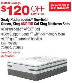 Costco Deal Sealy Posturepedic Newfield Queen King And Or Cal