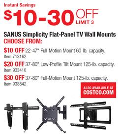 Costco Deal Sanus Simplicity Flat Panel Tv Wall Mounts
