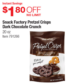Costco Deal Snack Factory Pretzel Crisps Dark Chocolate