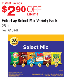 Costco Deal - Frito-Lay Select Mix Variety Pack - $2 90 OFF