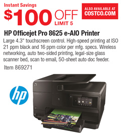 costco deal hp officejet pro 8625 e aio printer 100 off