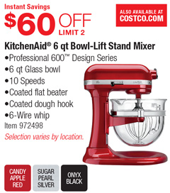 KitchenAid 6 Qt Bowl Lift Stand Mixer   $60 OFF