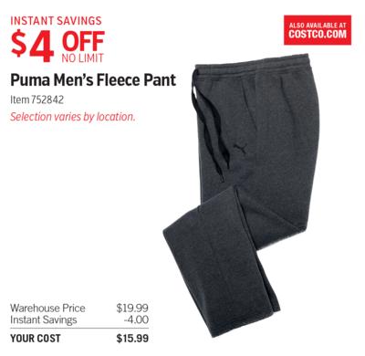 852b44ddd2 Costco Deal - Puma Men's Fleece Pant - $4 OFF