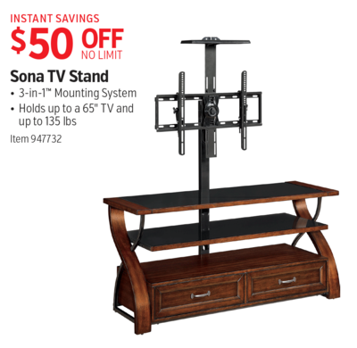 costco deal sona tv stand 50 off. Black Bedroom Furniture Sets. Home Design Ideas
