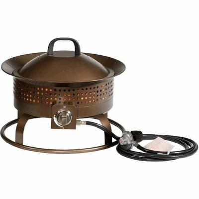 Garden Treasures Bronze Finish Steel Portable Gas Fire Pit   $99
