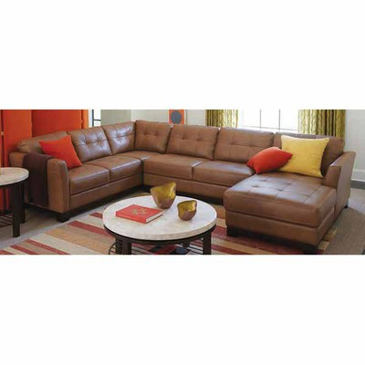 Macy's Deal - LEATHER CHAISE SECTIONAL Martino 3-pc. 139 ...